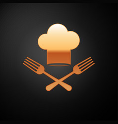 Gold chef hat and crossed fork icon isolated on vector