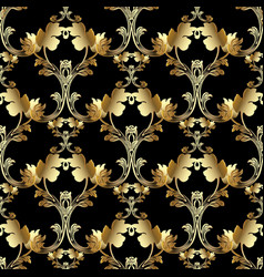 Gold royal 3d baroque seamless pattern floral vector