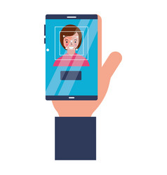 hand with mobile woman face scanning vector image