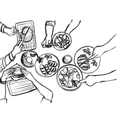 Hands with cutlery dining people top view on vector