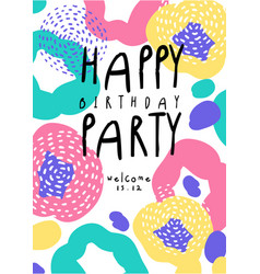 Happy birthday party colorful banner with date vector