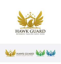 Hawk guard logo design vector