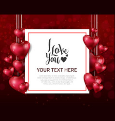 I love you design with hanging heart balloon vector