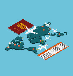 Isometric air travel transportation vector