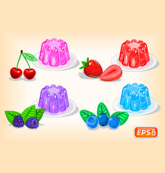 Jelly with multicolor and fragrant berries vector