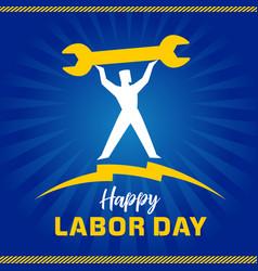 labor day usa workman on blue sunbeams vector image
