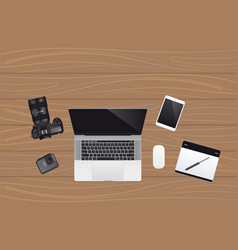 Laptop with cameras vector