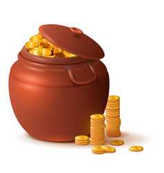 Large close ceramic pot with lid full gold vector