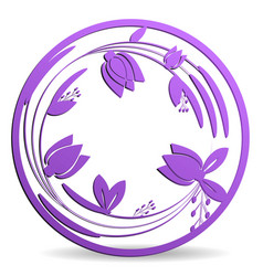 Laser die cutting tulips in a circle vector