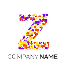Letter z logo with purple yellow red particles vector