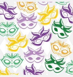 mardi gras mask seamless pattern background vector image