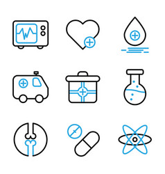 Medic icon set include cardiograph doctor medic vector