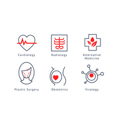 Medical specialization symbols set cardiology vector