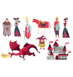 Medieval kingdom characters middle ages vector