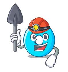 Miner cartoon the number zero color blue vector