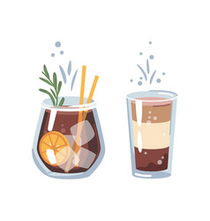 Old fashioned whiskey or cocoa cocktail beverage vector