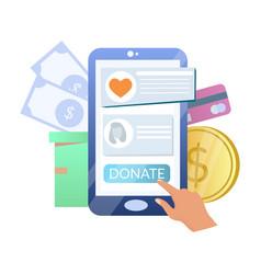 online donation hand donating money using vector image