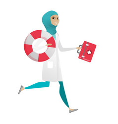 Paramedic running with first aid box and lifebuoy vector