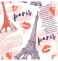 Paris pattern with eiffel tower kisses hearts vector