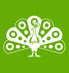 peacock with flowing tail icon green vector image