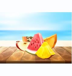 Pineapple papaya watermelon apple fruit slice set vector