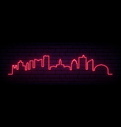 red neon skyline fort worth bright fort worth vector image