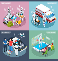 robot isometric professions icon set vector image