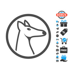 Rounded fox head flat icon with free bonus vector