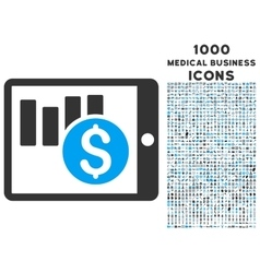 Sales Chart on Pda Icon with 1000 Medical Business vector