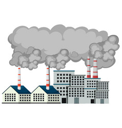 Scene with factory buildings and smoke coming out vector