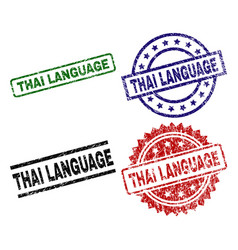 Scratched textured thai language seal stamps vector