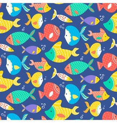 Seamless pattern of different kind sea multicolore vector image