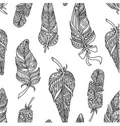 seamless pattern with stylized feathers design vector image