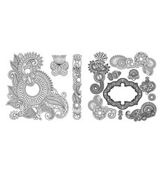set of black line floral design elements in henna vector image