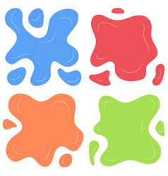 set of four multi color splashes vector image