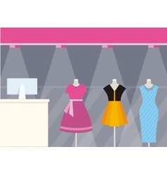 Shop Front Clothing Store Design Flat Style vector
