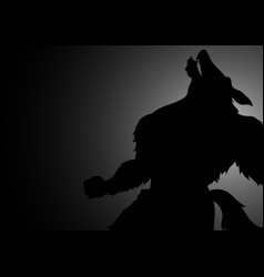 Silhouette of howling werewolf vector