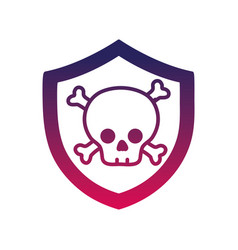 Silhouette security shield with dangerous skull vector