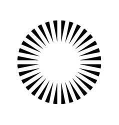 simple circle sunshine symbol radial burst black vector image