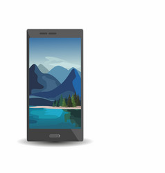 smartphone with layers of mountain landscape vector image