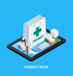 Tablet pharmacy online concept vector