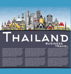 thailand city skyline with color buildings blue vector image