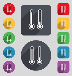 thermometer temperature icon sign A set of 12 vector image