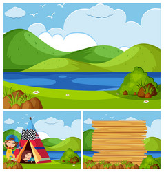 Three nature scenes with kids camping vector
