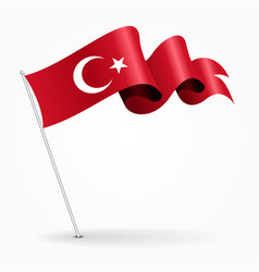 Turkish pin wavy flag vector