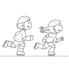 two young skaters vector image