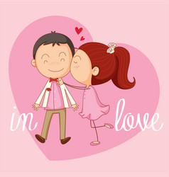 Velentine card template with girl kissing boy vector