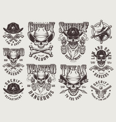 Vintage monochrome wild west labels set vector