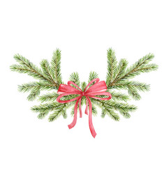 watercolor christmas wreath with green pine vector image