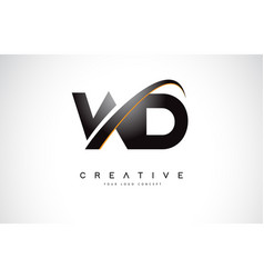 Wd w d swoosh letter logo design with modern vector